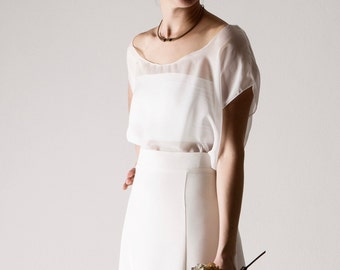 Cotton bandeau top, Bridal bustier, Stretch top, Wedding separates, jersey wedding bodice, wedding top, Simple Two piece wedding dress