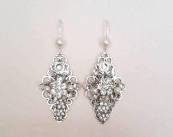Bridal Earrings Crystal and Pearl Earrings Wedding Earrings Vintage Style Earrings Bridal Jewelry for Bride Flower Swarovski Sterling Silver