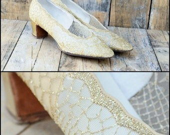 1950s, Gold Shoes, Metallic Shoes, Us 9, Uk 7, Eu 40, 50s heels, 50s gold shoes, gold pumps, gold high heels, 50s high heels, 50s pumps,
