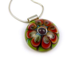 Green & pink lampwork glass cabochon pendant on silver chain