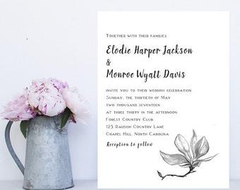 Black and White Floral Wedding Invitation - Floral Wedding Invitations - Romantic Wedding Invitations - Wedding Invitations - Wedding Invite