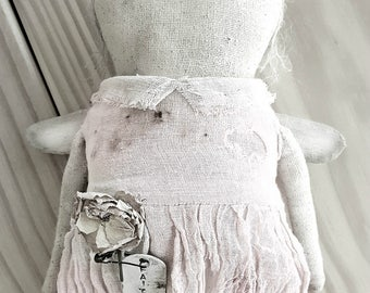 Farmhouse Primitive Doll Faceless Angel Pale Pink AVAILABLE to ship ooak Fabric Cotton Early Cloth Dyed Hand Made Kim Kohler veenas