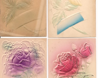 Set of 4 Antique/Vintage Relief Rose Postcards-Early 1900's
