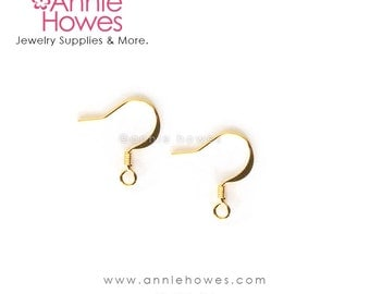 Gold Ear Wires. Fishhook style earring supplies.