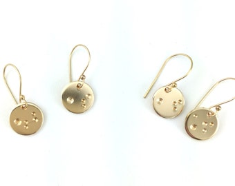 Small Gold Moon Earrings | 14k Gold Filled Astronomy Earring Gift For Her