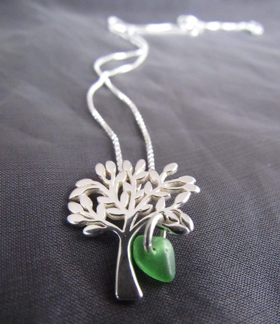 Tree of Life sea glass necklace in green