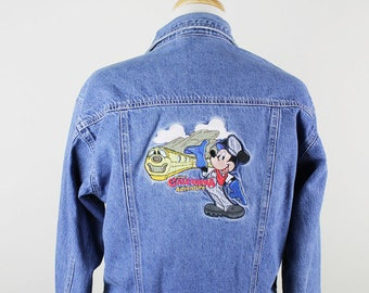 DISNEY California Jean Jacket, Mickey Mouse Jean Jacket, Disneyland Denim Jacket, Train jacket, Mickey Train Coat, Mickey Mouse Train Denim
