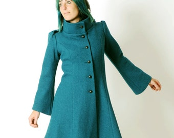 Womens teal blue coat, Teal blue winter coat, Hooded teal blue wool coat with flared sleeves, womens winter coat, MALAM, Your size
