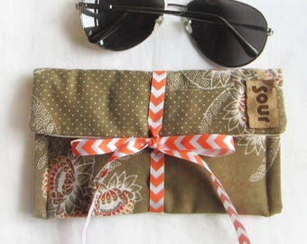 ON SALE Chasing Light //Sandy Beige, Coral and Pink Floral Sunglasses case with decorative chevron ribbon