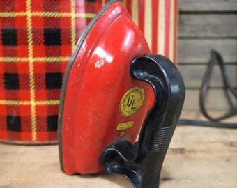 Vintage Travel Iron Red Untested Electric Not a Toy