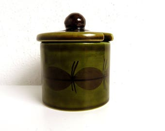 Vintage Ceramic Sugar Jar, Avocado Green Kitchen Sugar Bowl with lid, European Pottery Dish, Sugar Pot, Jam Jar, Serving Bowl