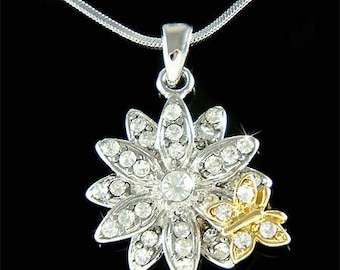 Swarovski Crystal Classy Spring Daisy Floral Flower Butterfly Family Pendant Chain Necklace New Best Friends BFF Mothers Day Christmas Gift