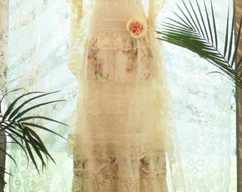 Floral lace dress wedding tulle romantic boho outdoor bride small  by vintage opulence on Etsy