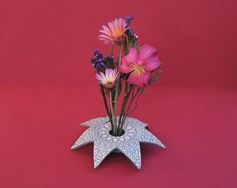 Lace Star Pottery Vase . Aegean Blue