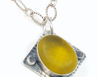 Sea Glass Jewelry Yellow Sea Glass Necklace Yellow Sea Glass Bezel Pendant Sea Glass Jewelry N-536