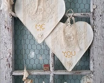 Bride and Groom Chair Signs Hearts for Vintage Wedding, Engagement, Shower, Anniversary, and Shabby Farmhouse Home Decor