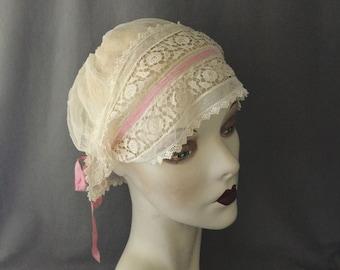Charming 1920s Gatsby, Boardwalk Empire Boudoir Cap, Crochet, Silk, Bandeau Lace
