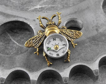 Compass Bee Golden Brooch - Flight of the Travelling Bumblebee by COGnitive Creations