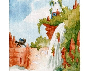 Rider on the Red Cliffs - 5x7 giclee bamboo print - fantasy watercolor illustration - fairy tale tower