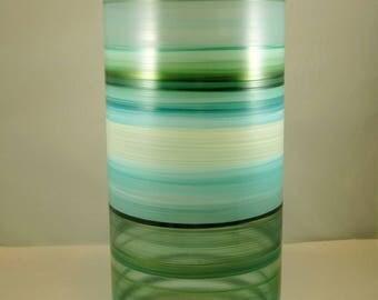 Hand Painted Large Glass Vase-Sea Glass Colors- Original Home Decor- Blue Green-Wedding Bridal