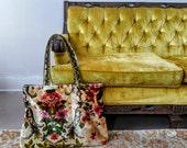 Vintage Floral Italian Velvet Tote Bag
