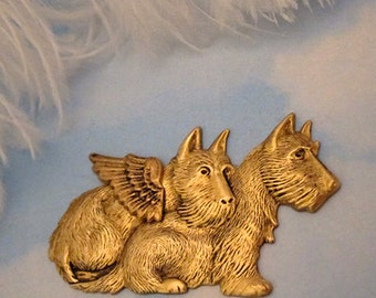 Westie and GUARDIAN ANGEL DOG Brooch Pin  Westie Scottie Jewelry by Cloud K9 ( West Highland White Terrier /Scottish Terrier / Scottie Dog)