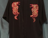 """Dragonfly Dragon Button Down Shirt Short Sleeve Rockabilly Punk Rock Hipster Size Large 48"""" chest"""