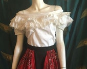 """1960's Peasant Blouse Ruffle Off Shoulder Patio Top  White Sears Reobuck  True Vintage Bust 36"""""""