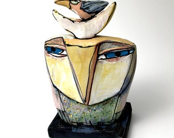 """Owl art, handmade one of a kind ceramic owl art,""""Owl Person Loves the Dancing Bird. Love is All, 6"""" tall"""