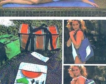 Summer picnic kit vintage sewing pattern beach mat exercise mat bag picnic tote bag and more McCalls 7583 Uncut