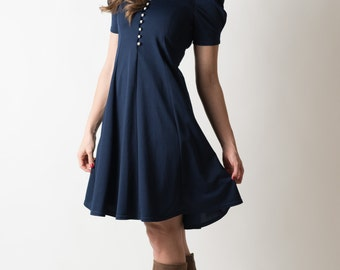 Vintage Navy Blue Pearl Button Lace Collared Dress (Size Small)