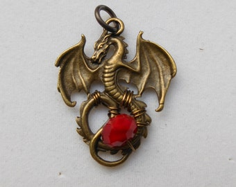 Brass Dragon Pendant, Red Dragon Egg -- Antique Brass Fantasy Dragon, Faceted Red Bead, Wings Spread