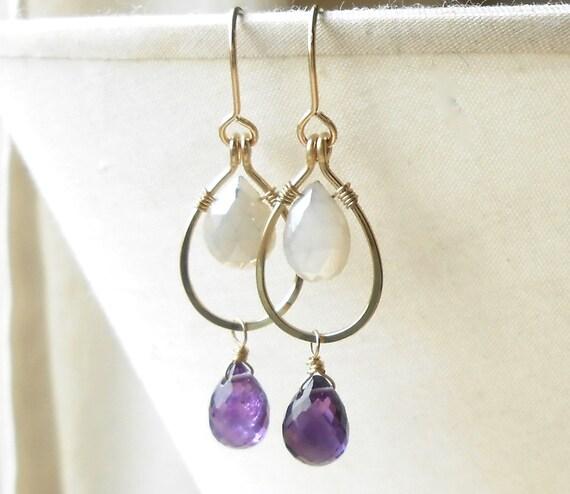 Gold Dangle Earrings, Amethyst Moonstone Gold Filled Drop Earrings