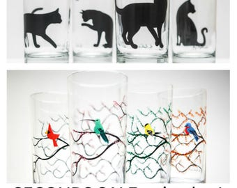 Seconds Sale: Mixed set of 4 imperfect glasses, Flawed Seconds, Glassware, Glasses, Mixed design Collection of flawed glasses.