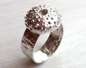 Sea Urchin Ring - Size 6 thru 10 - Sterling Silver - Reticulated - Organic - Made In Brooklyn - Silver Shell Ring - Silver Sea Urchin Ring