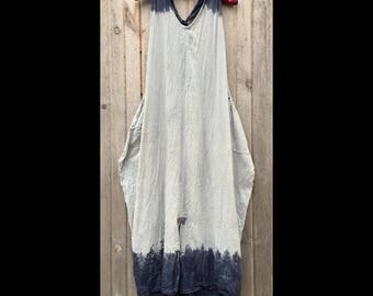 Deep Blue Dip: One Size fits S-XL, cotton sundress, maxi-dress, low impact dyes, OOAK, indigo blue, lagenlook, minimalist, big pockets