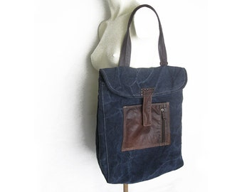 Canvas Tote Bag, Canvas Bag, Canvas Side bag, Blue Tote Bag, Slouchy Bag, Recycled Leather Canvas Bag, Blue Canvas Handbag, Fabric Handbag