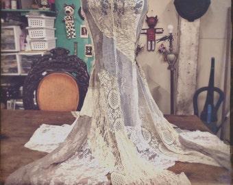 Lace Mermaid Skirt, long vampire skirt, white cream patchwork, belly dance costume, steampunk bride, gothic lolita wedding, boho chic