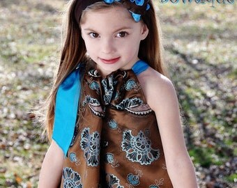 Brown baby headband, turquoise baby headband, double ruffle hair bows, hair bows for girls, large hair bow, jumbo bows, boutique hair bows