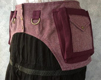 Hip loving fancy pocket belt - burgundy chenille desert festival utility belt - Burning desert Man fanny pack pocket belt - Small