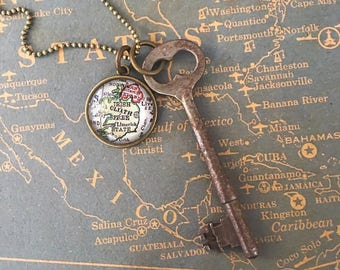 Custom Map Skeleton Key Necklace - Travel Blogger - Wanderlust Jewelry - Wanderlust Necklace - Travel Jewelry - Travel Necklace - Layering