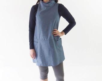 Blue dress, Woman Minimalist Blue Loose Dress, High Neck Dress, Fashion Women & Teenager, Woman Apparel, Casual Summer dress, linen clothes
