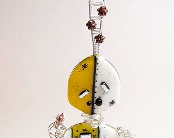 Daisy Robot Sculpture Fused Glass Kilnformed Mixed Media Decor Handmade Original Art Sterling Silver Wire Wrapping Steampunk Industrial