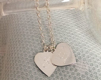 WHOLE LOTTA LOVE Vintage Inspired Sterling Silver Personalised Double Heart Necklace