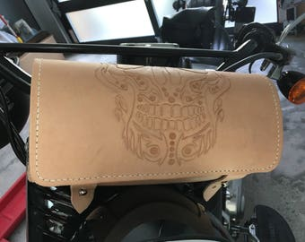 Hand tooled Leather Skull Motorcycle Fork Bag