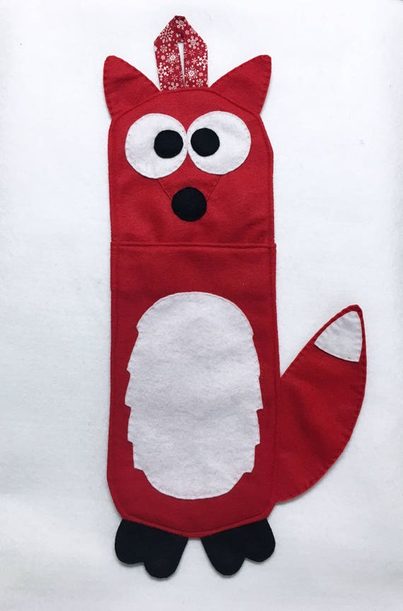 Fox Stocking, Christmas Stocking, Andy the Red Fox - One of a Kind, Gifts for Kids, Felt Animal, Gifts under 50