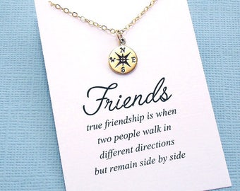 Best Friend Gift | Compass Necklace, Best Friend Necklace, Friendship Necklace, BFF Gift, Friendship Gift, Compass Charm, Compass Rose | F05