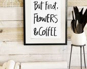 Flowers & Coffee- Botanic Collection - Beautifully textured cotton canvas art print. Order as a 5x7 8x10 11x14 or 16x20 size.