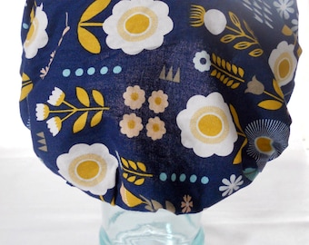 Retro Shower Cap - Shabby Cottage Chic Granny Floral Flowers Navy Blue Yellow Peach Pink - Rockabilly Bath and Beauty Hat