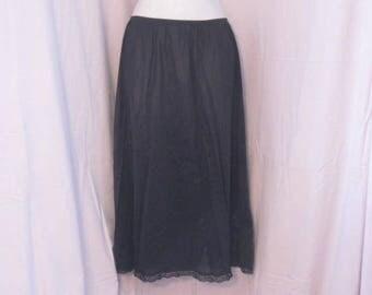 Long Black Half Slip, Vintage half slip, Vintage Lingerie